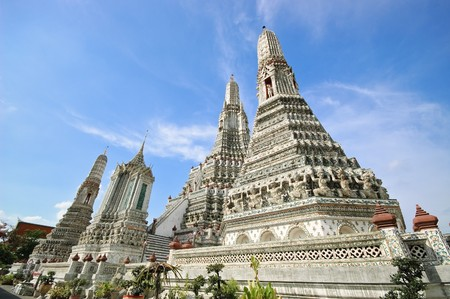 wat arun: A stupa at Wat Arun (Temple of Dawn), Bangkok Thailand.