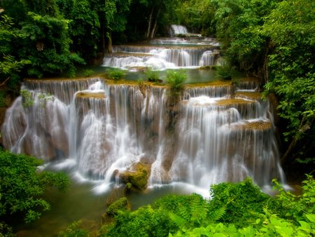 Huay Mae Khamin Waterfall, Paradise Waterfall in deep jungle of Thailand photo