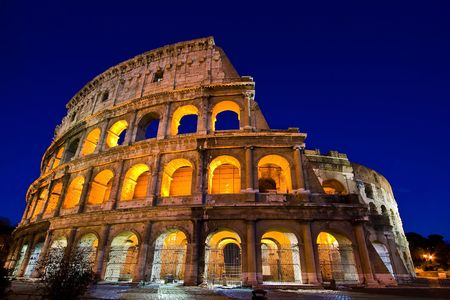 Colosseum Dome in Twilight with ultra-wild Perspective photo