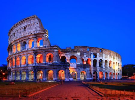 Colosseum in Twilight with Normal Perspective Stock Photo