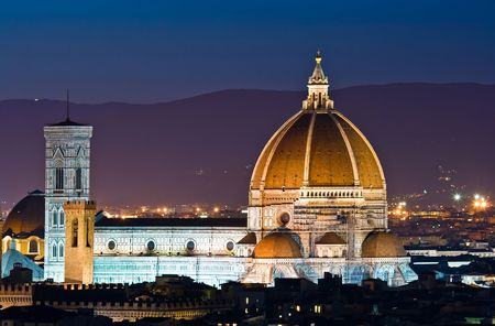 firenze: Firenze Duomo, Cathedral of Florence Italy, At Night from the Michelangelos Piazza