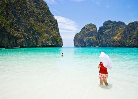 Red shirt lady at Maya bay, Phi-Phi Island , Phuket Thailand Stock Photo - 7407798