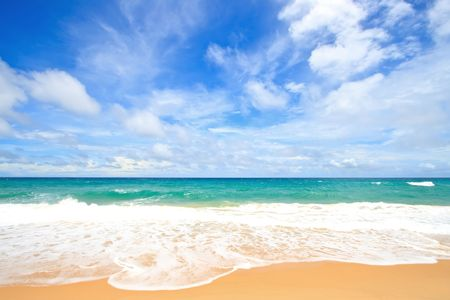 White Sand Beach with Perfect Sunny Sky at Phuket Thailand Stock Photo - 7480821