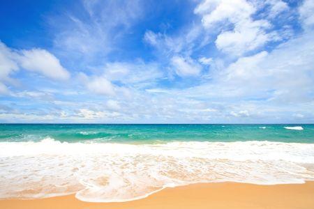 White Sand Beach with Perfect Sunny Sky at Phuket Thailand Stock Photo - 7480821