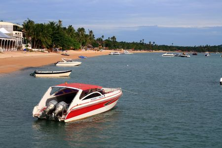Red Speed Boat at Samui Island Thailand  Stock Photo - 7516899