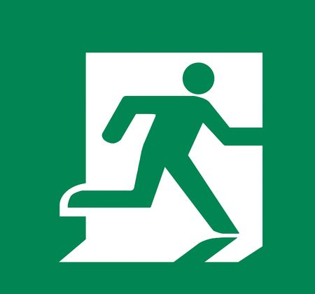 fire exit sign: Symbol of Fire Exit Sign isolated on Green Head Right Stock Photo
