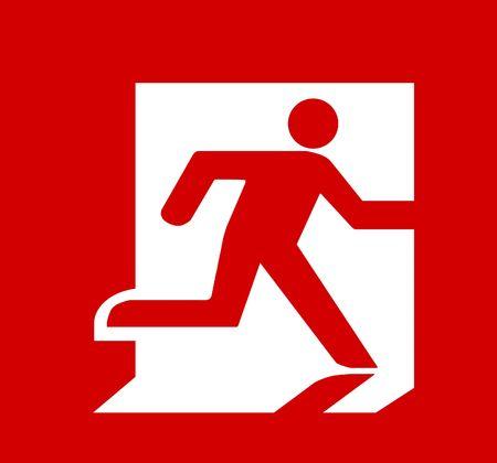 salida de emergencia: S�mbolo de Fire Exit Sign aislados sobre derecho de cabeza roja