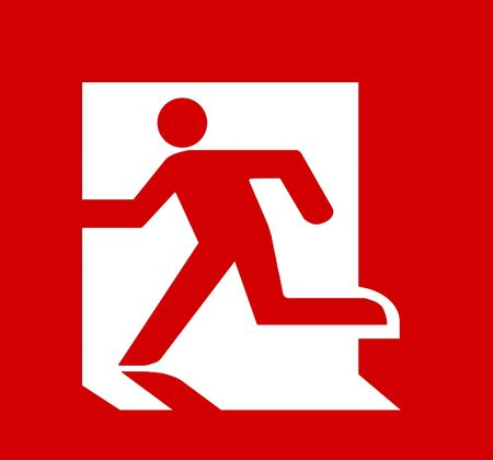 fire exit sign: Symbol of Fire Exit Sign isolated on Red Head Left