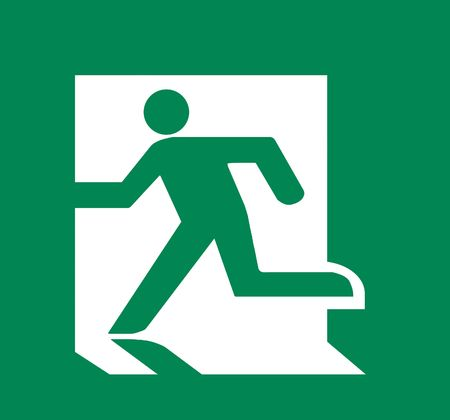 fire exit sign: Symbol of Fire Exit Sign isolated on Green Head Left