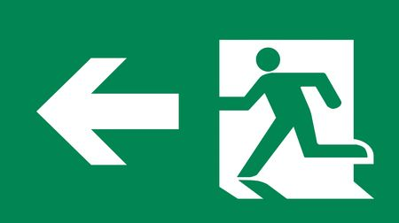 Symbol of Fire Exit Sign with Arrow isolated on Green Head Left photo