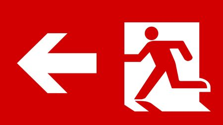 Symbol of Fire Exit Sign with Arrow isolated on Red Head Left Stock Photo - 7629567