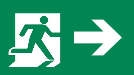 exit: Symbol of Fire Exit Sign with Arrow isolated on Green Head Right Stock Photo