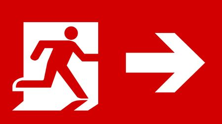 arrow emergency exit: Symbol of Fire Exit Sign with Arrow isolated on Red Head Right