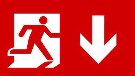fire exit sign: Symbol of Fire Exit Sign with Arrow down isolated on Red Head Right Stock Photo