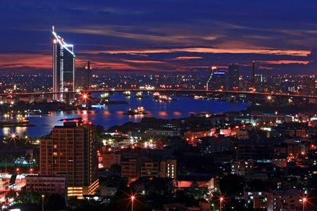 bangkok landmark: Bangkok Skyline at Dusk Top View