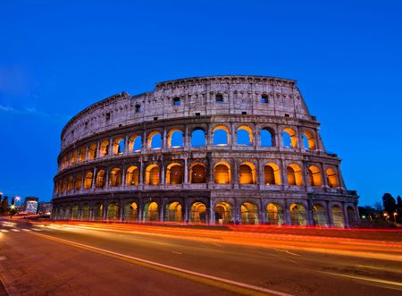 Colosseum at dusk from in front of Metro, Rome Italy Stock Photo - 7669682