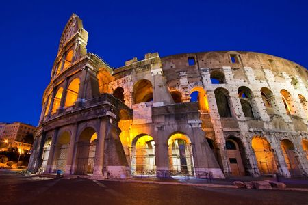 rome italy: Colosseum in Twilight with ultra-wild Perspective at Dusk, Rome Italy