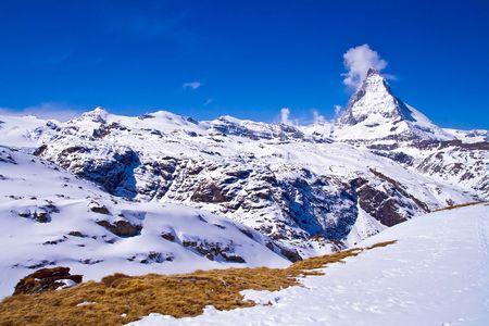 chocolate peak: Matterhorn Peak, logo of Toblerone Chocolate, Switzerland Stock Photo