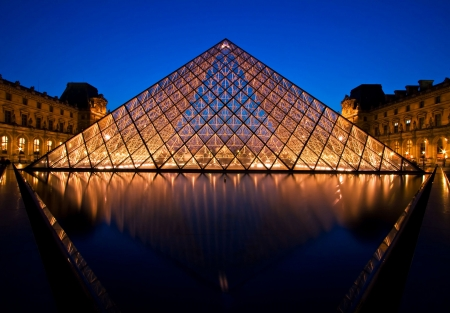 Paris France APR 16,2010 - Closeup of Louvre pyramid at Dusk during the Egyptian Antiquities Summer Exhibition in Paris. This is one of the most popular tourist destinations in France.