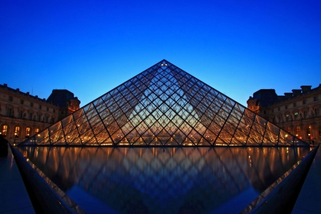 Paris France APR 16,2010: Shining of Louvre pyramid at Evening during the Egyptian Antiquities Summer Exhibition in Paris. This is one of the most popular tourist destinations in France. Stock Photo - 7737653