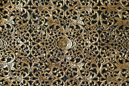 Thai Traditional Golden decoration on Wall Stock Photo - 7770345
