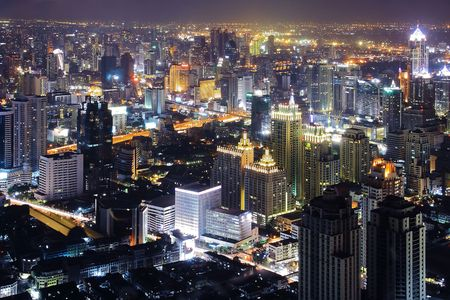 Bangkok Downtown Top View at night photo