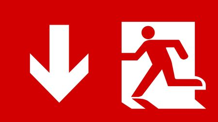 Symbol of Fire Exit Sign with Arrow down isolated on Red Head Left photo