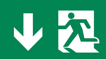 Symbol Of Fire Exit Sign With Arrow Down Isolated On Green Head