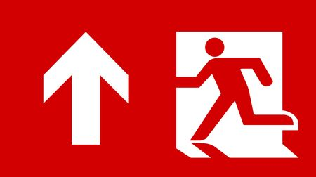 fire exit sign: Symbol of Fire Exit Sign with Arrow up isolated on Red Head Left