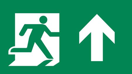 Symbol of Fire Exit Sign with Arrow up isolated on Green Head Right photo