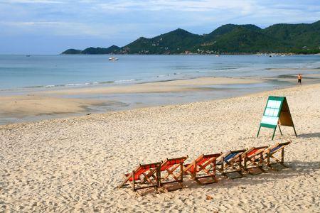 Beach Chair at Samui Island in Thailand Stock Photo - 7770463