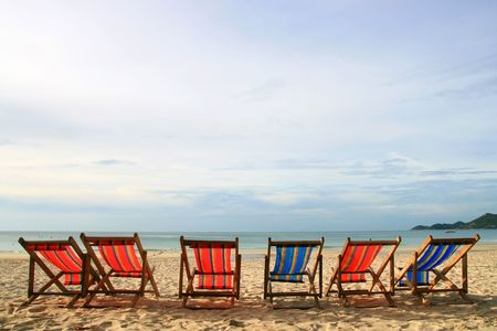 Beach Chair at Samui Island in Thailand Stock Photo - 7770457