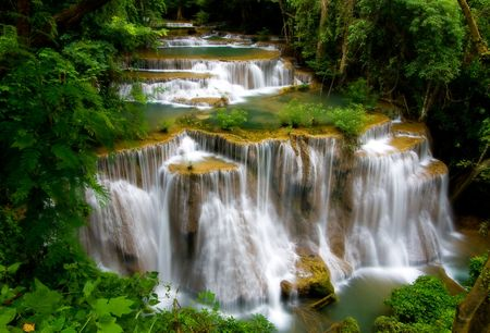 erawan: Huay Mae Khamin Waterfall, Paradise waterfall in deep jungle of Thailand