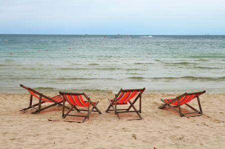 Beach Chair in Summer at Samui Island in Thailand Stock Photo - 7963831