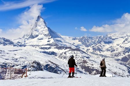 traditional climbing: Landscape of Ski and Matterhorn peak, logo of Toblerone chocolate, located at Gornergrat in Switzerland