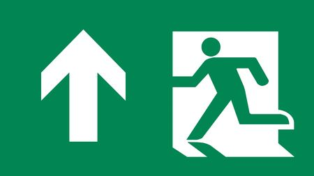 fire exit sign: Symbol of Fire Exit Sign with Arrow up isolated on Green Head Left