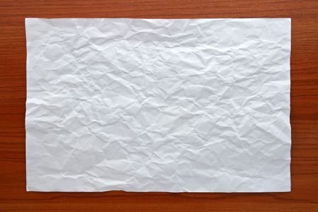 Wrinkled White paper attach on Wooden Board Stock Photo - 7916014