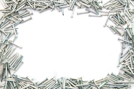 Frame of Silver Concrete nails Stock Photo - 7963940