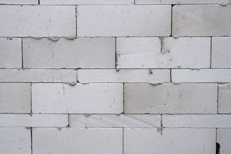 White Light Weight Concrete Brick Wall Stock Photo - 7964001