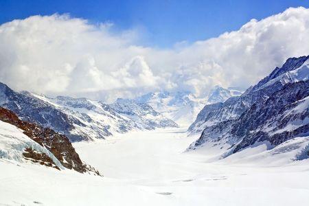 aletsch: Closeup of Great Aletsch Glacier Jungfrau region,Part of Swiss Alpine Alps at Switzerland.