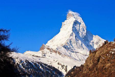 chocolate peak: Matterhorn Peak from Zermatt City, Switzerland