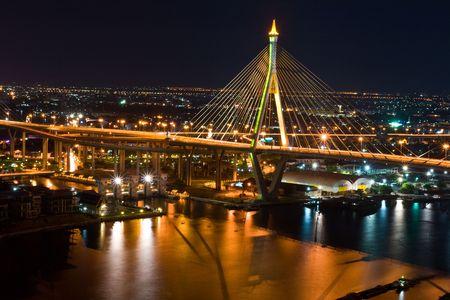 Thai Mega Sling Bridge in Thailand. The bridge crosses the Chao Phraya River twice.