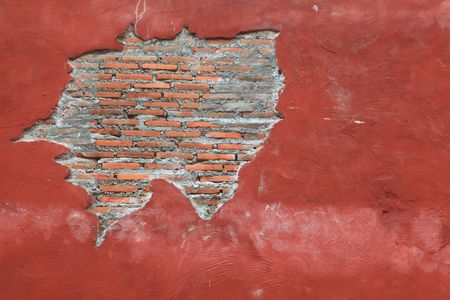 Cracking grunge weathered vintage and fragment of Red brick wall using as background Stock Photo - 8022344