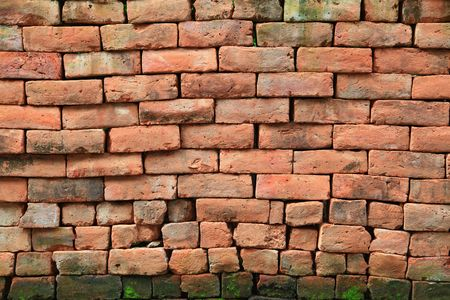irregular shapes of red stone brick wall background photo