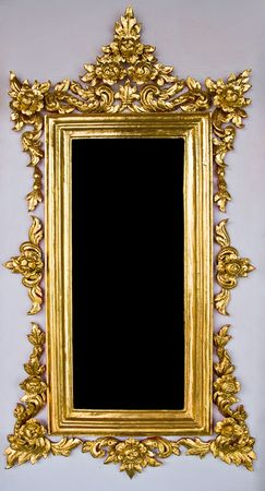 Vertical Traditional Thai Chinese Golden Empty Frame Stock Photo - 8089467