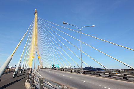 rama: Mega sling Bridge,Rama 8, near Harbor with beautiful sunny in Bangkok