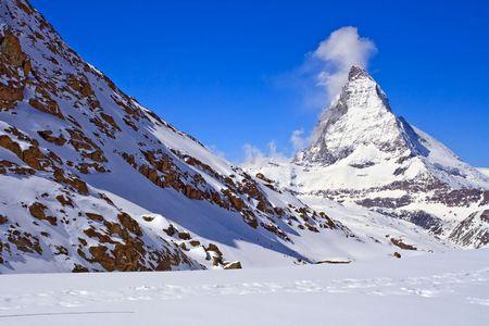chocolate peak: Landscape of  Matterhorn Peak region at Zermatt City, Switzerland