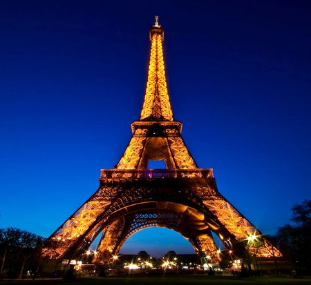 editorial: Paris-APR20 - Eiffel Tower Light Performance Show in Dusk, The Eiffel tower is the most visited monument of France.