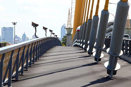 pathway on mega sling bridge rama 8 in Bangkok photo