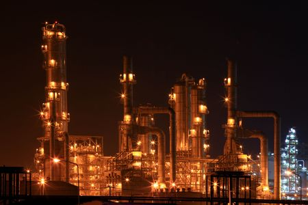 closeup of petrochemical oil refinery factory at night Stock Photo - 8176634